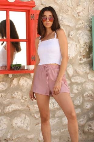 Pink Drawstring Shorts