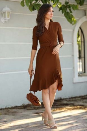 Burgundy Belt Dress