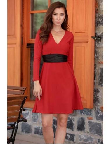 Kırmızı Kemerli Elbise